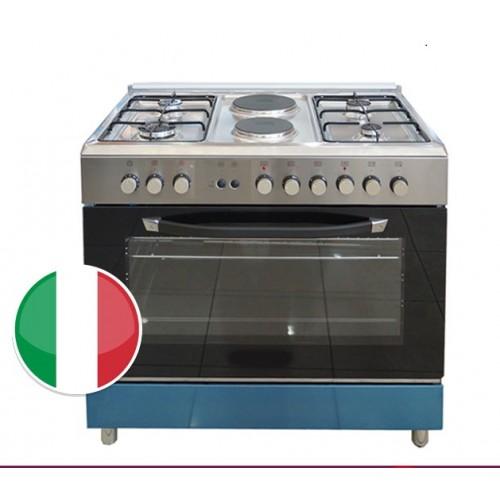 Homy Gas-Elec Cooker/4Burner+2Elec/90X60/FS/Steel - (HOM94231X)