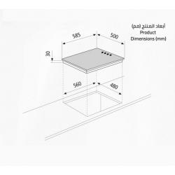 GlemGas Builtin Electric Hob/60cm/Stone/4 Hotplate - (P6LE0I)