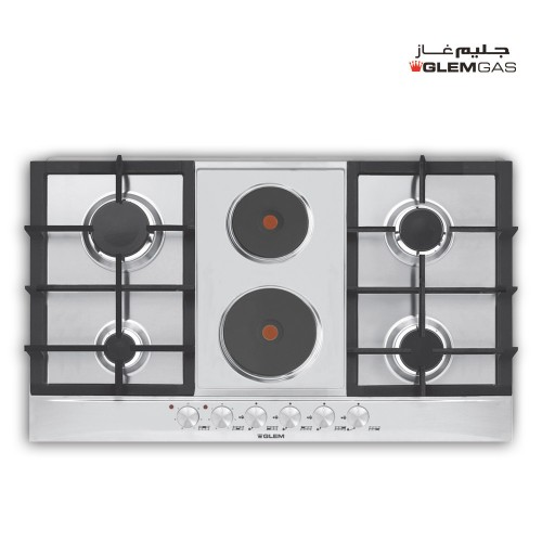 GlemGas Builtin Gas+Electric Hob/90cm/4 Burner + 2 Hotplate/Cast iron Grids - (P9FVCGI)