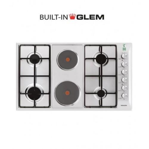 GlemGas Builtin Gas+Electric Hob/90cm/4 Burner + 2 Hotplate - (P9LVCI)