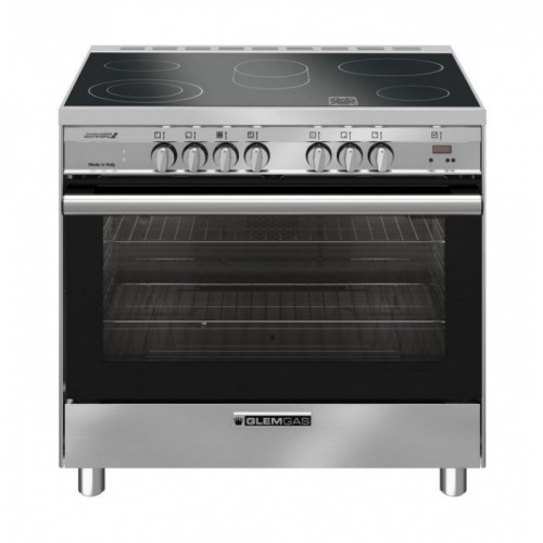 GlemGas Gas-Electric Cooker/90x60/Ceramic Cooker + Gas Oven/5 Hotplate/steel - (SB9624VI)