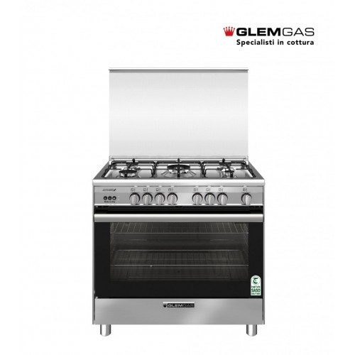 GlemGas Gas Cooker/5Burner/90X60/FS/Fan/Steel - (SB967GIFSMF)